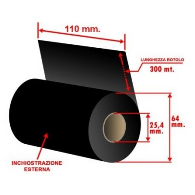 RIBBON WAX MM 110X300 MT INK OUT CORE 1