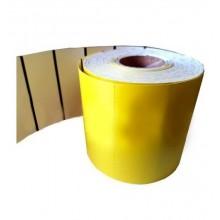 Cartoncino termico fondo giallo da 180 gr. mis. mm. 60X38 foro 40 retrostampato con tacca nera pz 1000