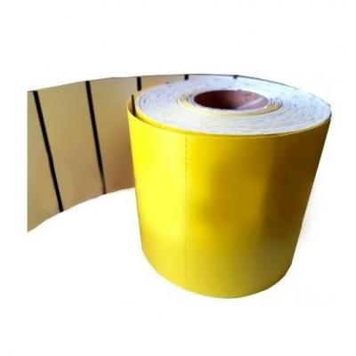 Cartoncino termico fondo giallo da 180 gr. mis. mm. 80X38 foro 40 retrostampato con tacca nera pz 1000