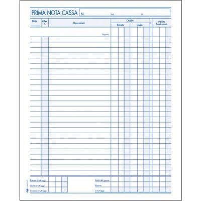 PRIMA NOTA CASSA SEMPLICE ENTRATE - USCITE 22x28 CM