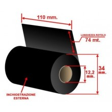 RIBBON WAX PLUS MM 110X74 MT INK OUT CORE 0,5