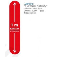 ADESIVO INDICAZIONE 1 METRO DISTANZA CM 20 X CM 100 ROSSO